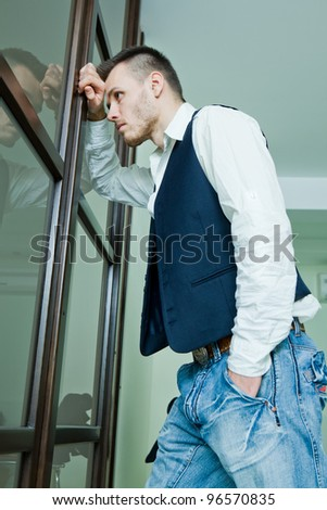 young businessman in stress - stock photo