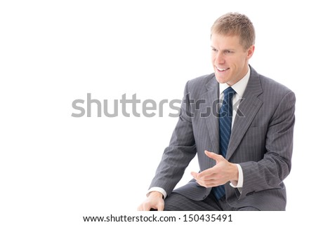 young businessman interviewing on white background - stock photo