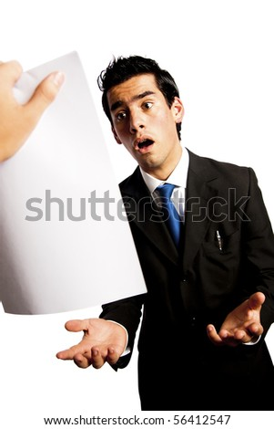 young businessman is getting fired by his boss - stock photo