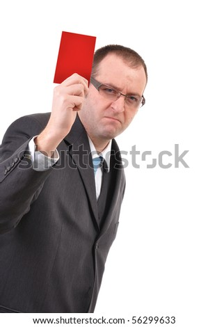 Young businessman is showing a red card