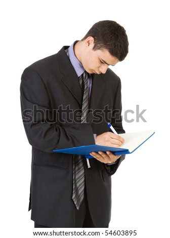 Young businessman isolate on white
