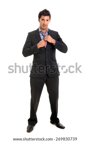 Young businessman isolated in white
