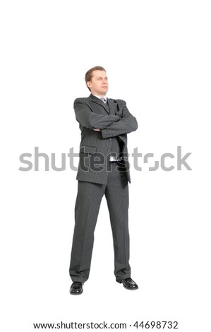 Young businessman isolated on a white background. - stock photo