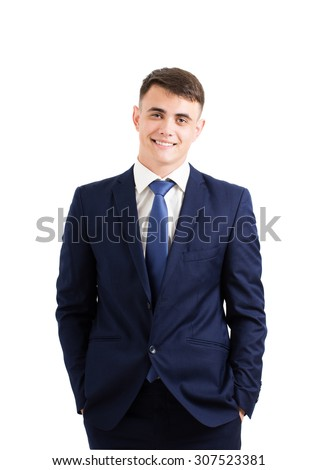 young businessman isolated on white - stock photo
