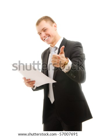 Young businessman. Isolated on white - stock photo