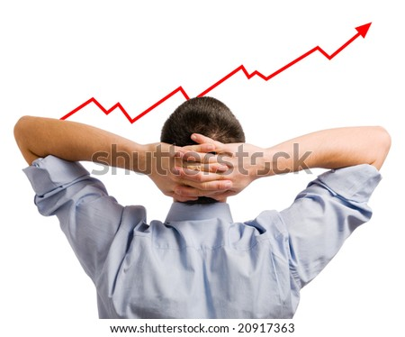Young businessman looking at his growing share. Healthy and successful business! - stock photo