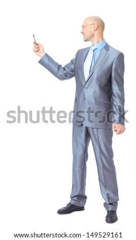 Young businessman makes a record. - stock photo