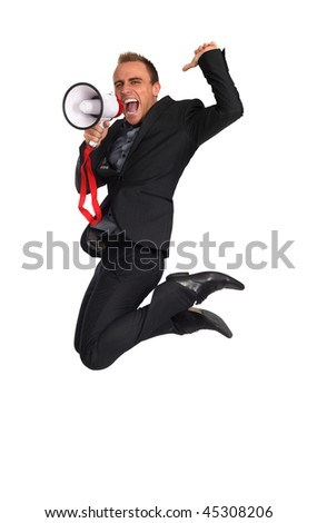 young businessman making announcement with a megaphone as he jumps