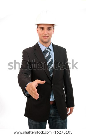 Young Businessman, offering to shake hands - focus on the hand