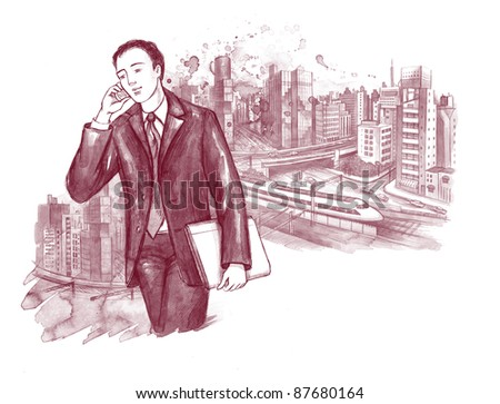 young businessman on background of city scape - stock photo