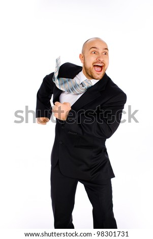 young businessman on white background - stock photo