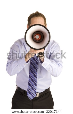 Young businessman on white shouting into a megaphone. - stock photo