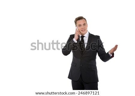 Young businessman or politician talking on the telephone.