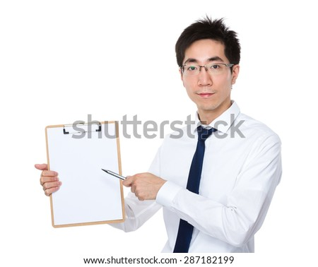 Young businessman pen point to clipboard
