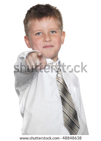 young businessman point by finger on you on white background