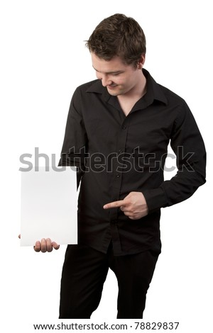 young businessman pointing at a blank sign
