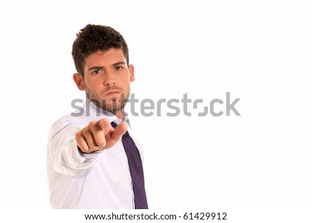 young businessman pointing to camera with copy-space isolated on white background - stock photo
