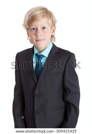 Young businessman portrait in suit and tie, isolated on white background - stock photo