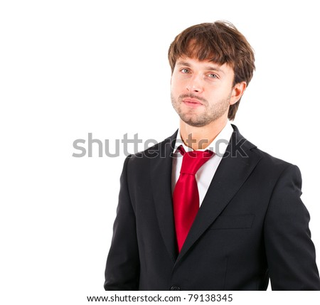 Young businessman portrait. Isolated against white background.
