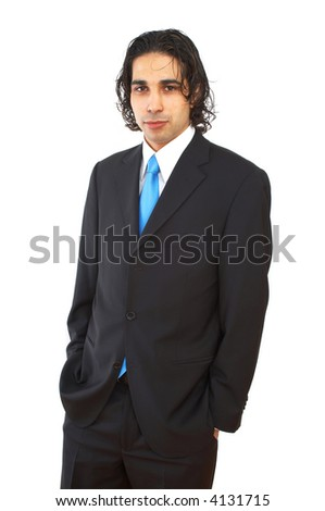 young businessman portrait on white background - stock photo