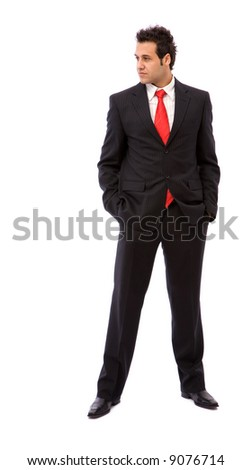 young businessman portrait on white background with copy space