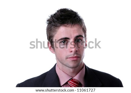 young businessman portrait over white background
