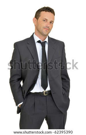 Young businessman posing isolated in white - stock photo
