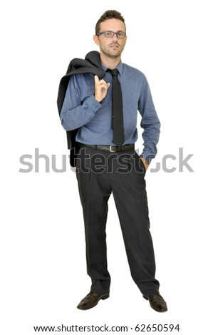 Young businessman posing isolated in white