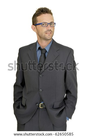 Young businessman posing with glasses isolated in white - stock photo
