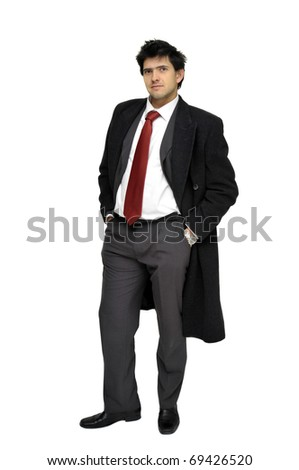 Young businessman posing with greatcoat isolated in white