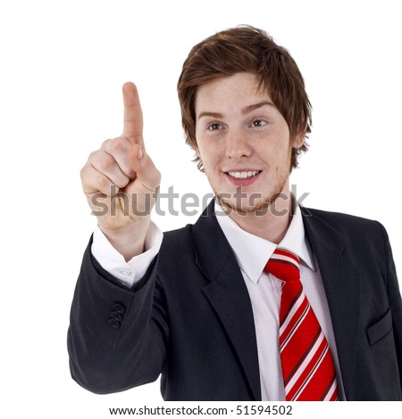 young businessman pressing an imaginary button over white - stock photo