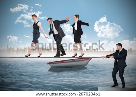Young businessman pulling a tightrope for business people against small boat in the sea with city on horizon - stock photo