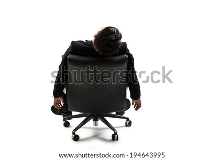 Young businessman resting on chair, Isolated over white