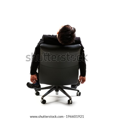 Young businessman resting on chair, Isolated over white - stock photo