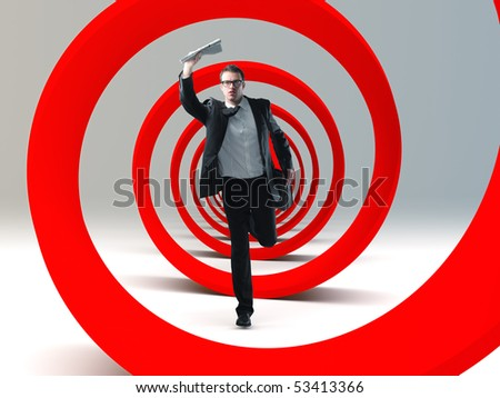 young businessman run in a big red 3d spiral - stock photo