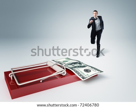 young businessman run toward money trap