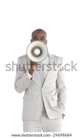 Young Businessman shouting in a megaphone