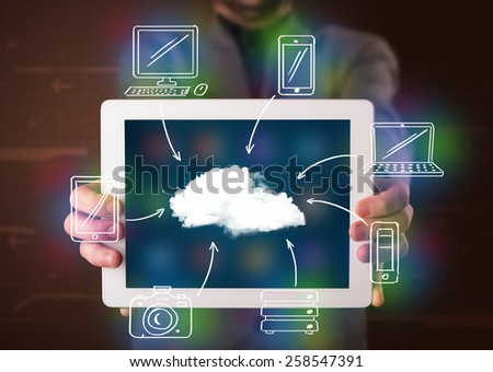 Young businessman showing hand drawn cloud computing