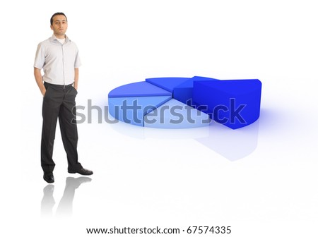 Young businessman showing pie chart - stock photo