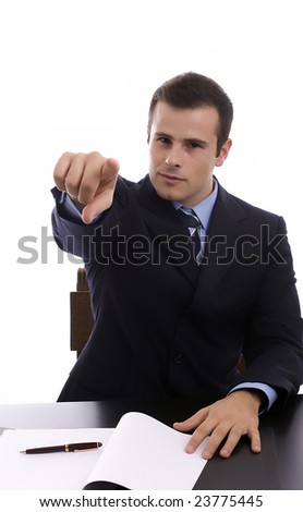 Young Businessman, showing positivity, isolated over white