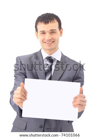 Young businessman showing signboard, isolated on white background