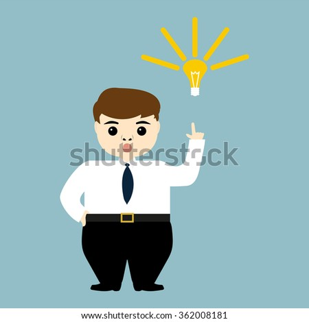 young businessman showing the idea of a light bulb - stock photo