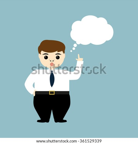 young businessman showing thumb up and thinks aloud - stock photo