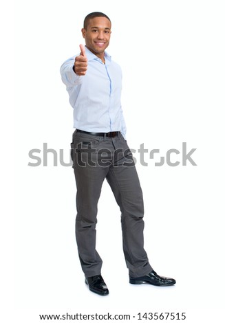 Young Businessman Showing Thumb Up Sign Over White Background - stock photo