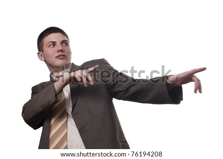 Young businessman shows something on white background