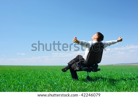 Young businessman sitting on chair in green meadow - stock photo