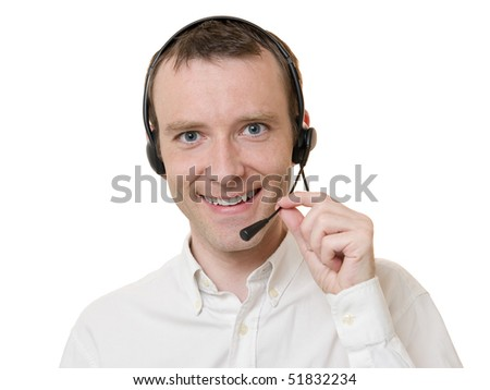 Young businessman smiling talking with headset isolated on white - stock photo