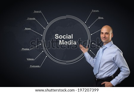 Young businessman. Social media diagram concept - stock photo