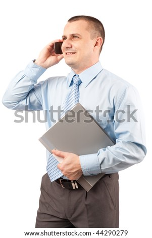 Young businessman speaking on mobile phone, holding a folder