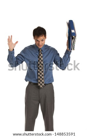 Young Businessman Standing Frustrated Expression Holding Business Documents Folder  on Isolate White Background - stock photo